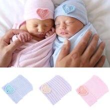 Милая детская шапочка для новорожденных девочек и мальчиков, удобная полосатая Больничная шапочка с бантом, Зимние теплые детские шапочки, шапка для новорожденных