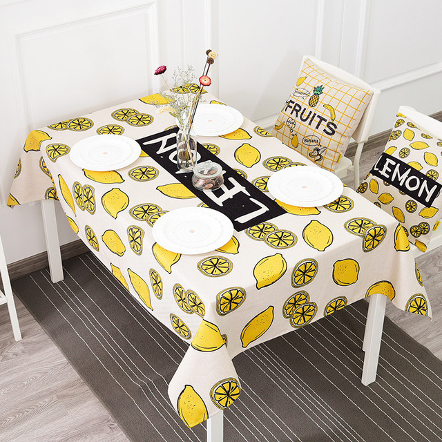 Merveilleux Yellow Lemon Printed Thicking Table Cloth Europe Style Rectangle Cotton  Linen Tablecloths Dining Kitchen Home Decor