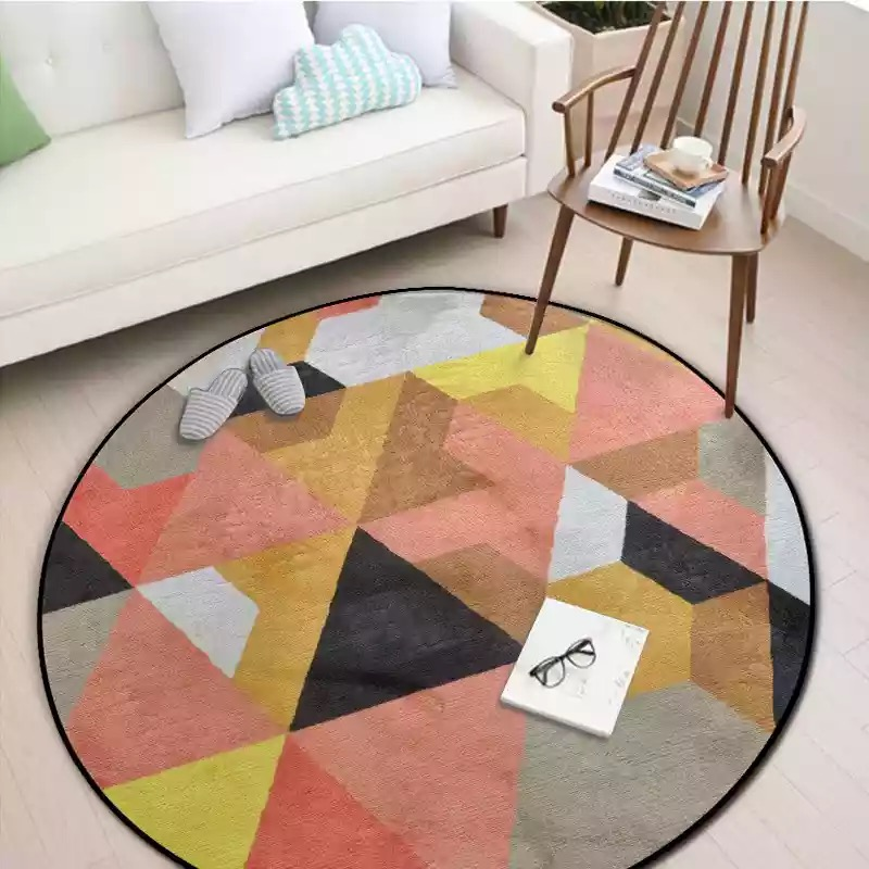 Round Spliced Carpets for Bedroom Soft Flannel Living Room Area Rug Aubusson Geometric Design Carpets Europe Colorful Round Rug in Carpet from Home Garden