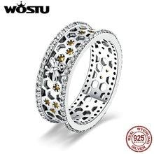 WOSTU 100% אמיתי 925 כסף סטרלינג כוורת עיצוב 7mm יוקרה אצבע טבעות נשים כסף אופנה 925 תכשיטי מתנה CQR391