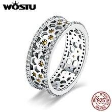 Wostu 100% real 925 prata esterlina design favo de mel 7mm anéis de dedo de luxo para as mulheres prata moda 925 jóias presente cqr391