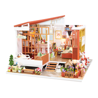 DIY Dollhouse Wooden 3D doll Houses Assemble Miniature Doll House Furniture Kit Led Toys for Children Birthday Gift