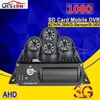 3g + gps 4CH 1080 AHD Автомобильный видеорегистратор 4 шт. внутри 2.0mp hd камера автомобиля реального времени наблюдения Cyclic Запись мобильный видеорег