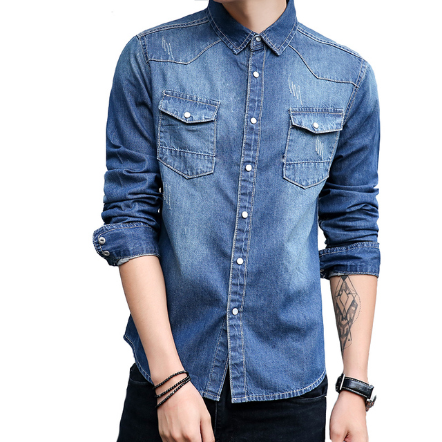 2342aebe2c New Autumn 2018 Spring High Quality Long Sleeve Denim Shirts Men Casual  Shirt Fashion Slim Mens Jeans Shirts For Men 5z