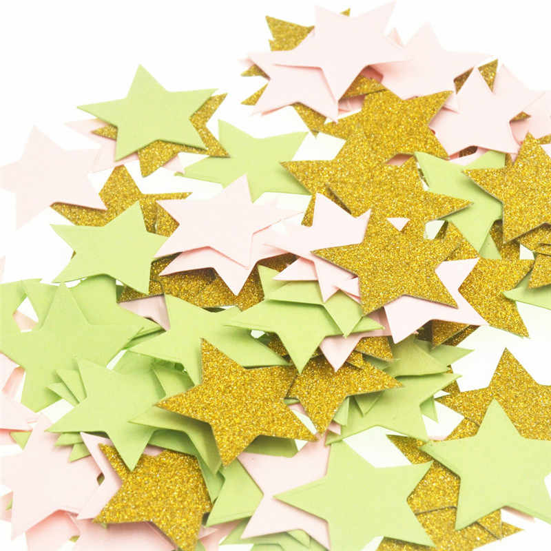 100 pcs Estrela Coração Polvilha Confetti Mesa da Festa de Aniversário Decoração de Casamento Brilho Rosa Ouro Prata Preto Paper Crafts