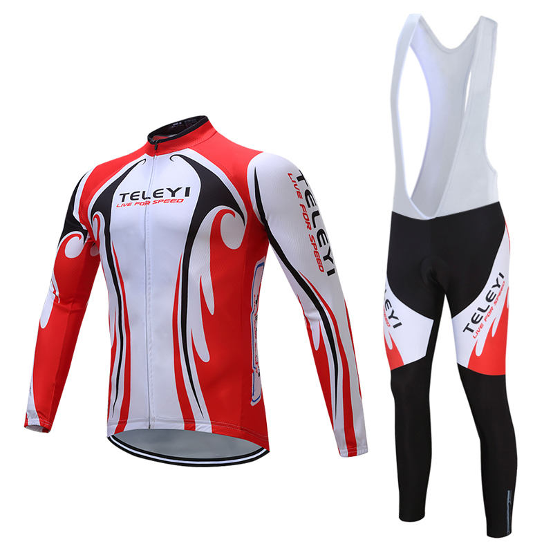 Pro Team Cycling Jersey Long Sleeve Uniforms Set Breathable Jersey MTB Bike Shirts Pad Bib Pants Set Clothes Red White XS-4XL