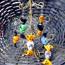 6pcs new custom hand blown Munuola glass sweets skull figurines Halloween decorative pendant candy birthday party gift