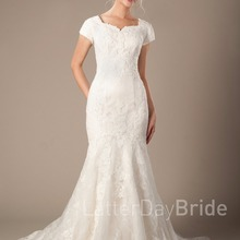 cecelle Lace Appliques Wedding Dresses With Cap Sleeves