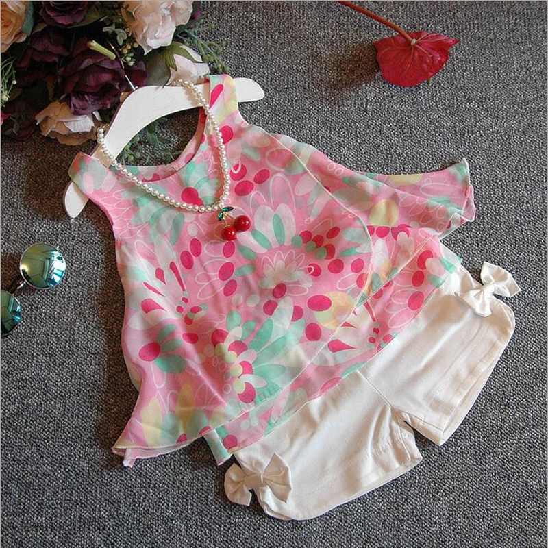 NEAT Summer baby girl set sweet cute style princess party clothes Girls Flowers Chiffon Vest Tops + White bow shorts H5005 cute princess crown style vest dog apparel pet clothes deep pink size xs