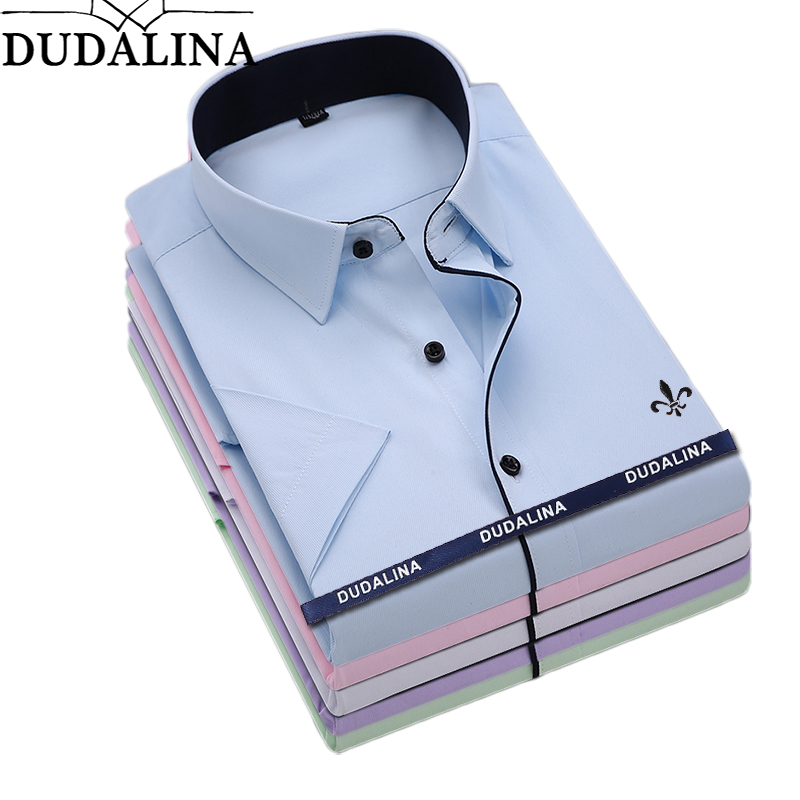 Dudalina Male Shirt Short Sleeve Men Dress Shirt 2019 Brand Designer Solid Male Clothing Slim Fit Business Shirts No Pocket