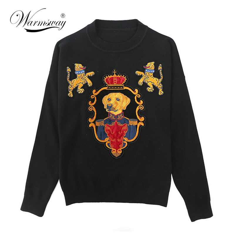 Autumn Winter Women Fashion Pullover Crown dog Embroidery Sweater Vintage O-neck Knitted ...