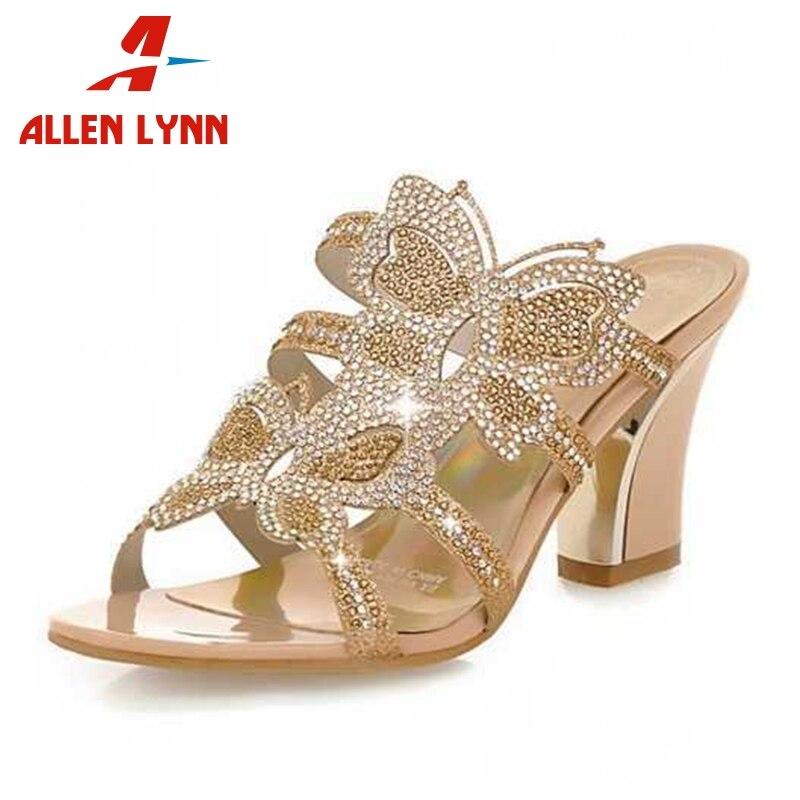 Women Sandals Rhinestone Open-Toe High-Heels Butterfly Big-Size Fashion 34-43 Print Cut