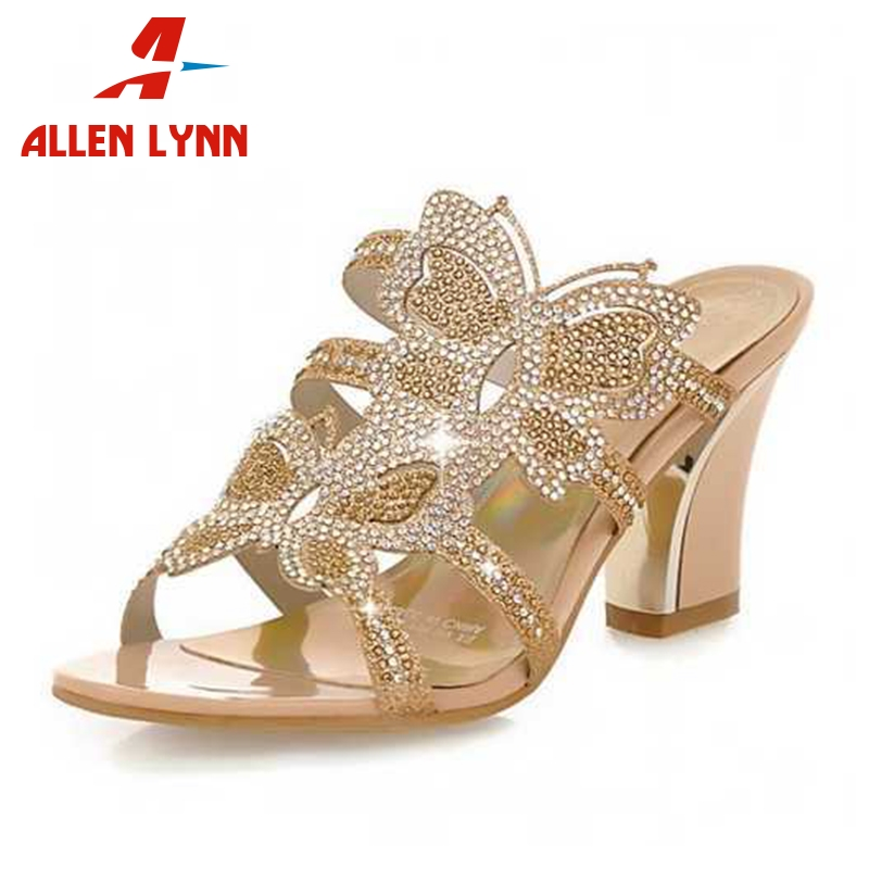 ALLENLYNN Big Size 34 43 Fashion Woman Shoes Rhinestone Butterfly Print High Heels Summer Shoes Cut Outs Open Toe Women Sandals
