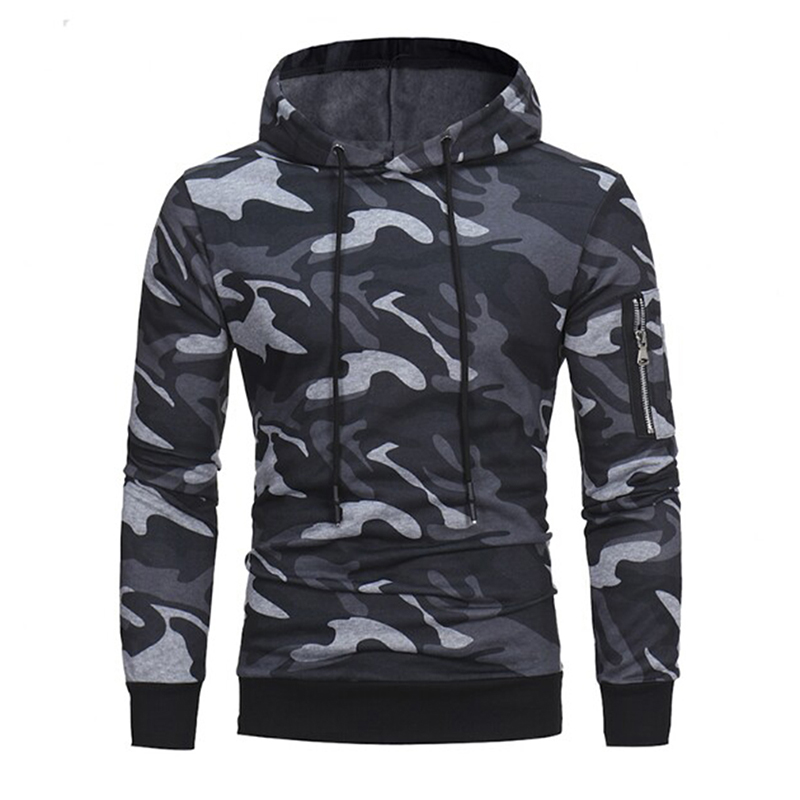 Plue Size 3XL Men's Casual Camouflage Hoodies Autumn Male Hooded Sweatshirt Side Zipper Men Fitness Sweatshirts Hoodies DP704219