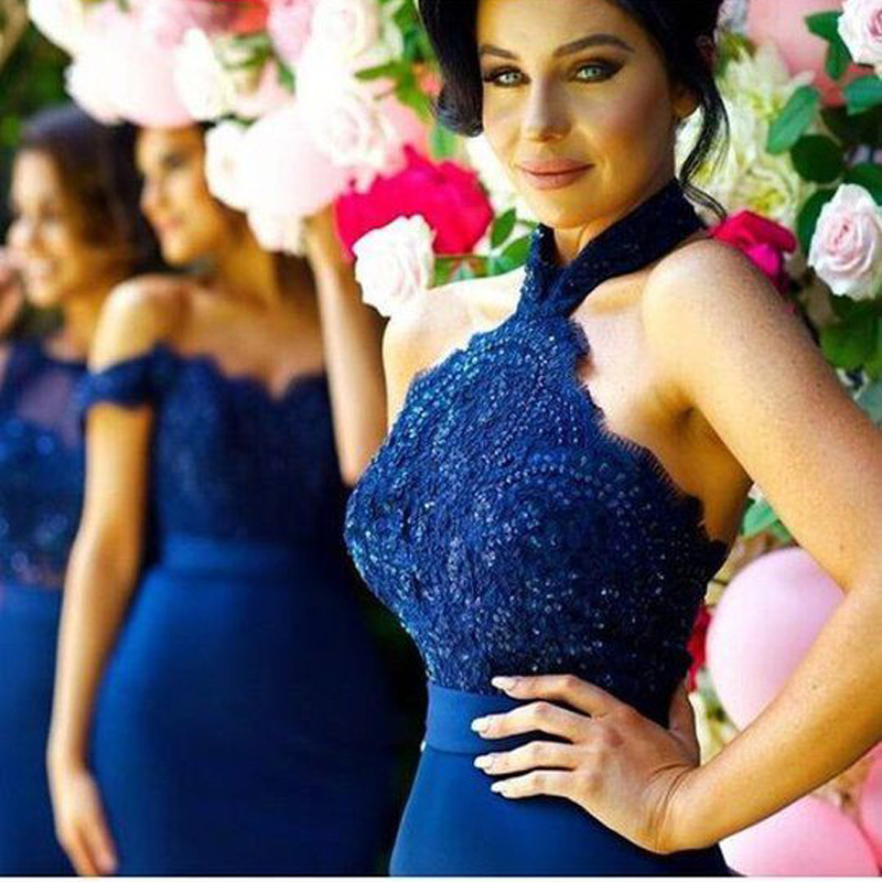 2018 Navy Blue Off Shoulder   Bridesmaid     Dresses   Formal Wedding Party   Dress   Appliques Lace Elastic Satin Women   Bridesmaid     Dress