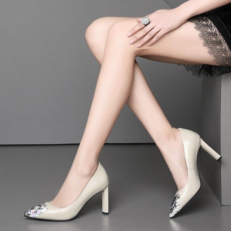 Femme chaussures talons aiguilles femme escarpins bout pointu peu profond T Stage noir/Nude véritable cuir robe de mariée talons