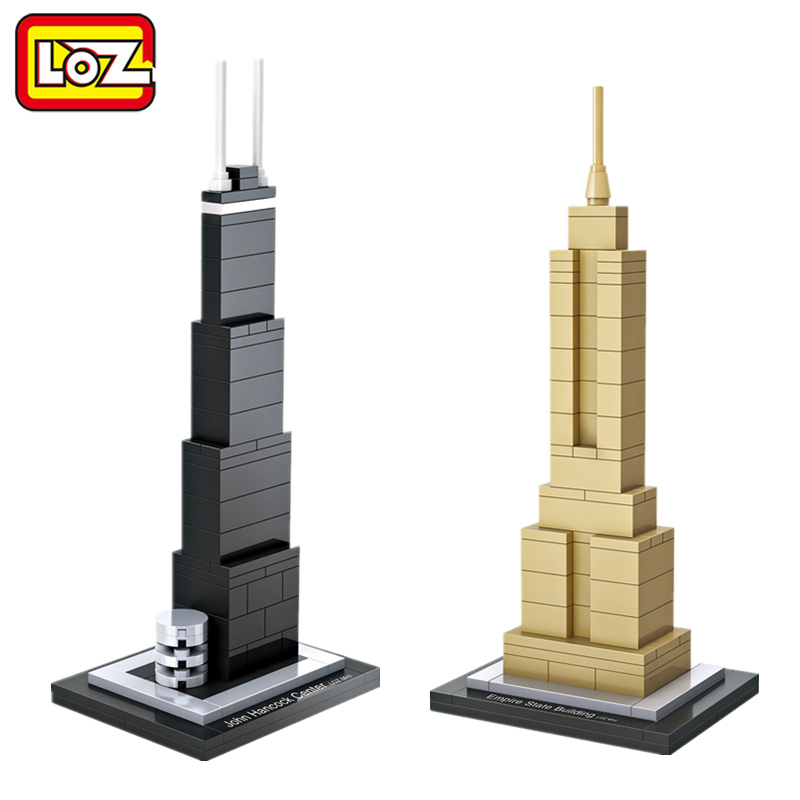 LOZ Mini Blocks World Famous Architecture Model Block Toy John Hancock Center Empire State Building Model No Box Ages 14+ loz lincoln memorial mini block world famous architecture series building blocks classic toys model gift museum model mr froger