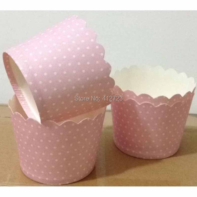Free Shipping pinksmall white dots Mini baking cups MouldCupcake