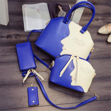 3pcs set Newest Women PU Leather Handbag Shoulder Zipper Bags Design Picture Package zipper Solid Color