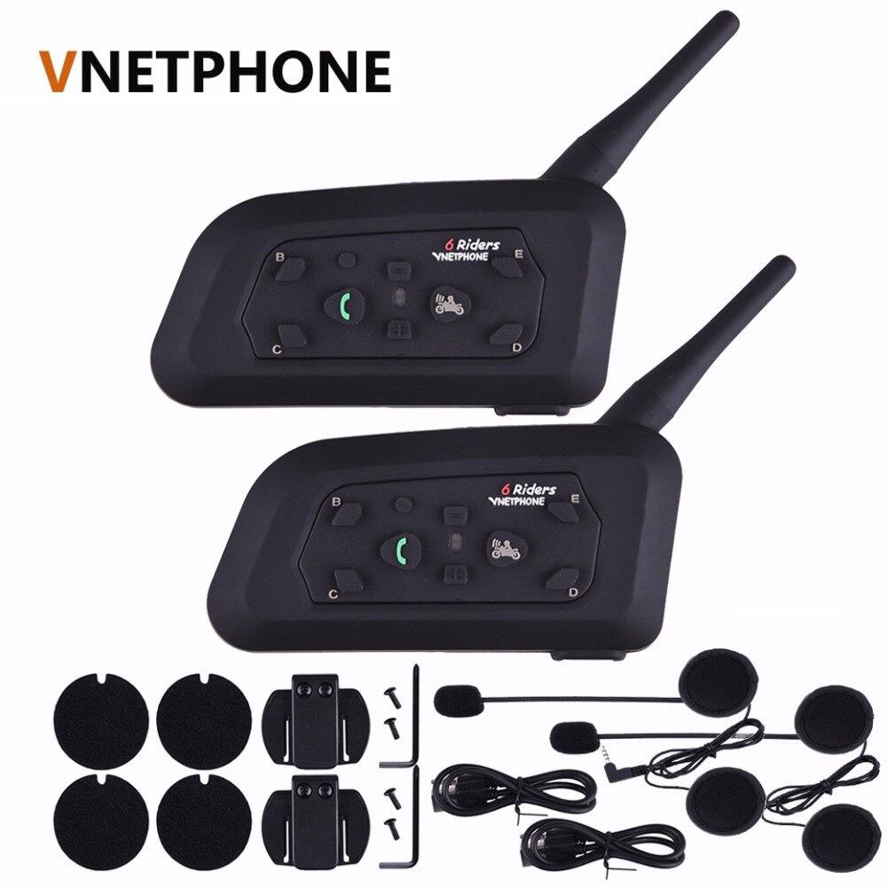 2017 Vnetphone 2 pcs V6 Pro Motorcycle Helmet Bluetooth Headset Intercom 6 Riders 1200M Wireless Intercomunicador BT Interphone