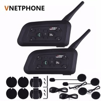 Hot Sale 2Pcs Headset BT Wireless Bluetooth 3 0 Motorcycle Helmet Headset Interphone V6 1200m Distance