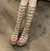 Women Sandals Summer Style Flats Sexy Knee High Boots Gladiator Sandals Women Casual Flats Shoes Leopard