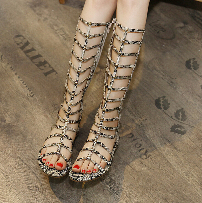 Women Sandals Summer style Flats Sexy Knee High boots gladiator sandals women Casual flats Shoes Leopard/white/black/gold  handmade high quality 2017 summer new knee high boots gladiator women sandals boot real leather flats casual shoes black size 41