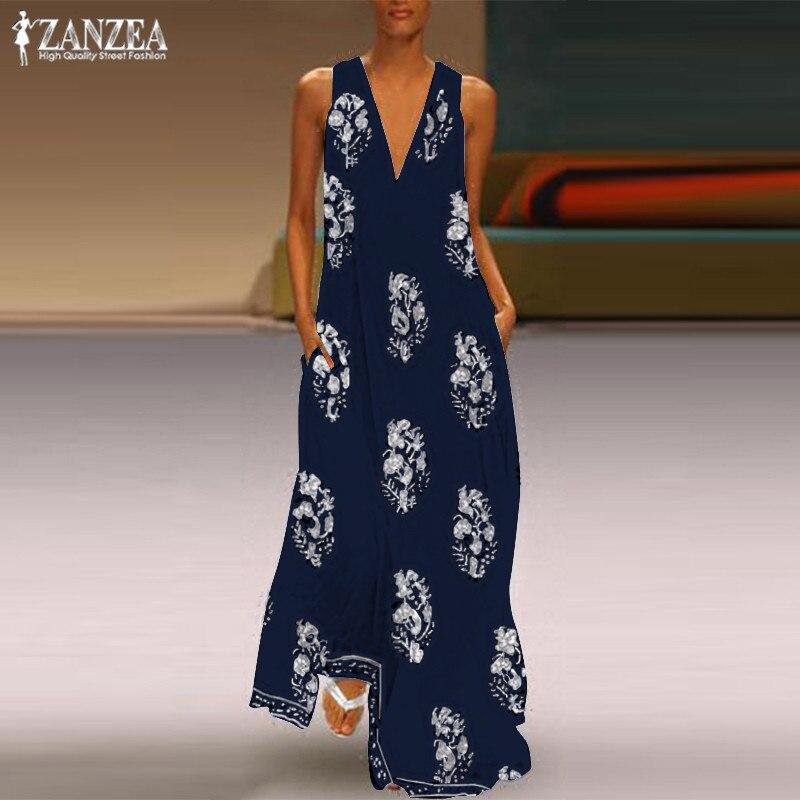ZANZEA 2020 Bohemian Print Dress Women's Summer Sundress  Fashion Sexy V Neck Sleeveless Maxi Vestidos Female Floral Robe Femme