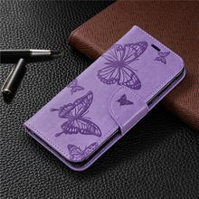 For funda Samsung Galaxy J4 2018 Plus Wallet Case Embossed Butterfly PU Leather Flip Cover for J6 Coque