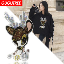 GUGUTREE embroidery Sequins big deer patches animal letter badges applique for clothing XC-46