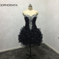Fashion Off the shoulder Black Cocktail dresses 2019 Beaded Silver cirtsals robe cocktail dress Plus size