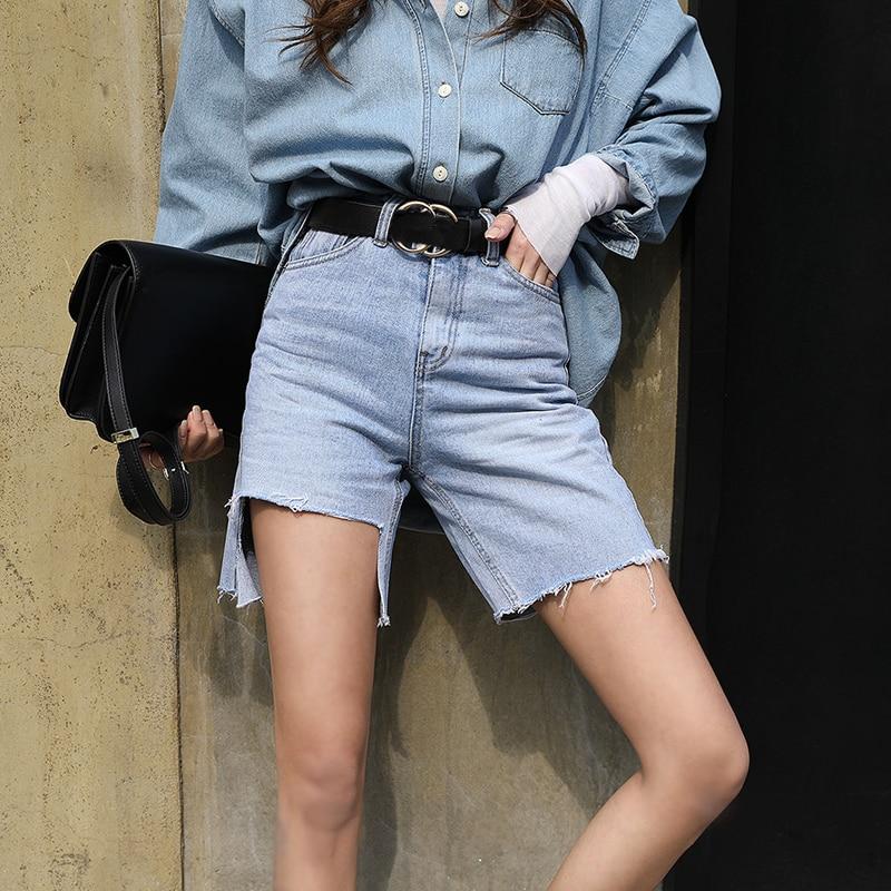 Fashion High Waist Blue Destroy Ripped Denim Shorts Female Summer High Street Casual Pockets Tassels Women Shorts Jeans 2019