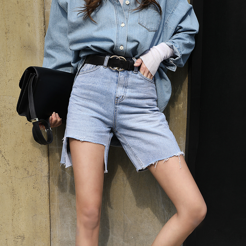 Fashion High Waist Blue Destroy Ripped Denim   Shorts   Female Summer High Street Casual Pockets Tassels Women   Shorts   Jeans 2019