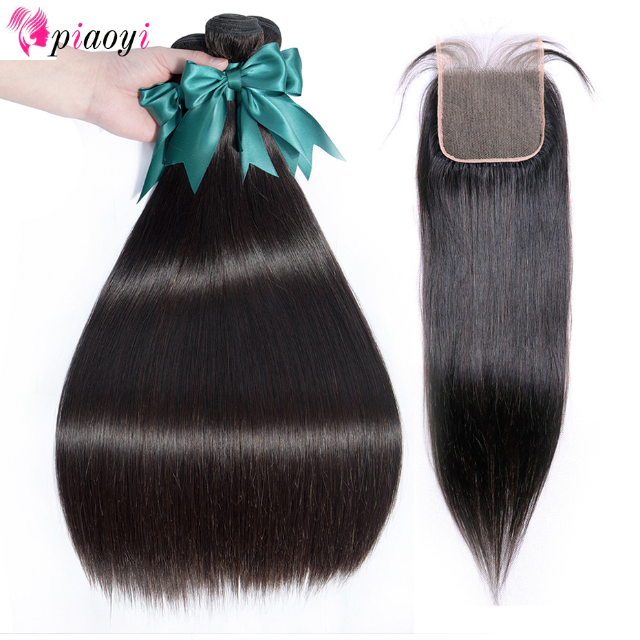 Piaoyi Peruvian Straight Hair 3 Bundles With Closure Human Hair Bundles With Lace Closure Natural Color