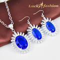 Free Shipping - Fashion hight quality silver plated charm lady amazing blue crystal dangle earring+nacklace Jewelry Sets