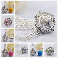 H047 Pregnancy Belly Necklace Blackened Silver Cage Fit For 18mm Harmony Bola Ball Pendant Angel Caller To Unborn Baby