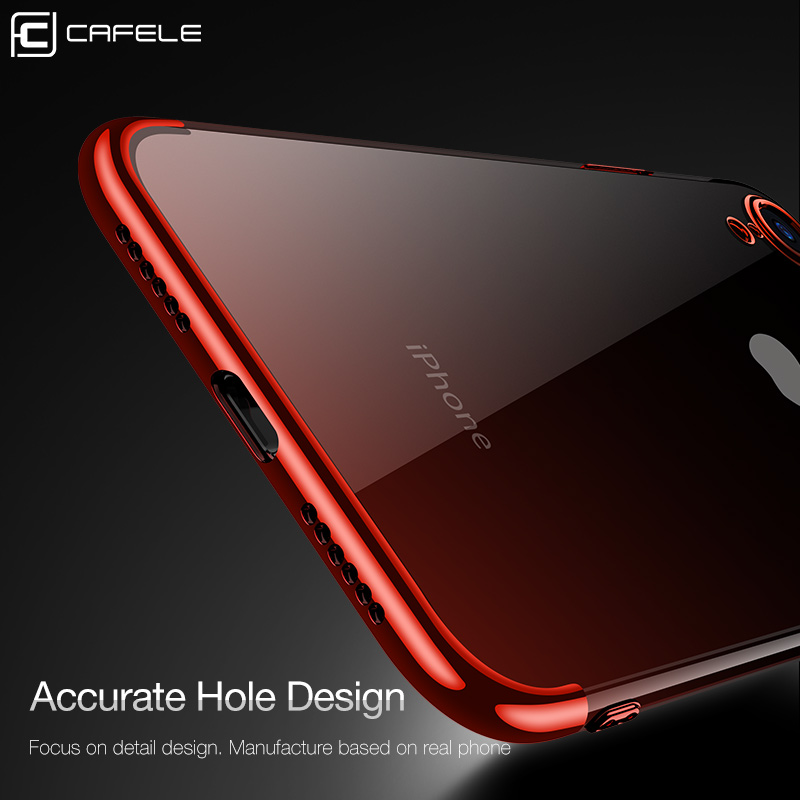 Купить с кэшбэком CAFELE Gradient Plating Case for iPhone Xr Cover Transparent Silicone Cover Luxury Aurora Soft TPU Phone Case For iPhone XR