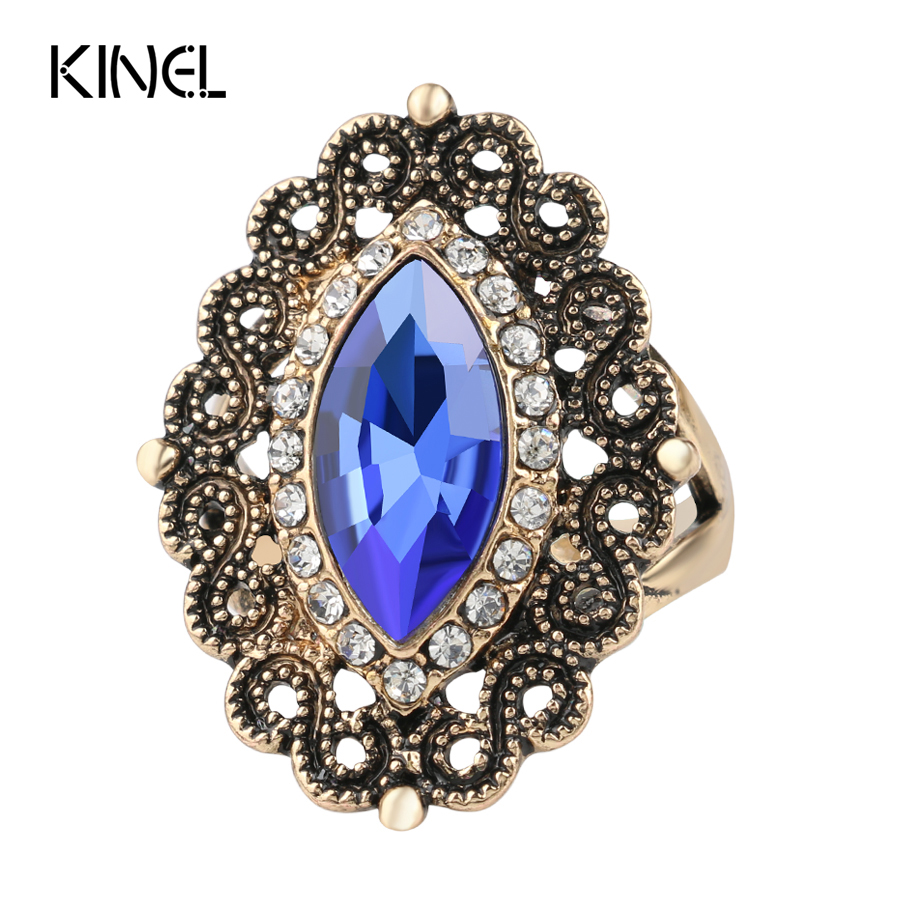 Kinel Wedding-Rings Antique Women Crystal-Ring Christmas-Gift Gold-Color White Vintage