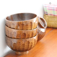 Natural Wood Japanese Cuisine Bowl Soup Bowl Tableware Food Container Hand Color Non toxic Health Materials Hexagon Bowl 1pcs