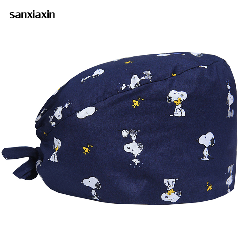 Sanxiaxin Wholesale Cotton Print Adjustable Pet Hospital Work Hats Surgical Caps Women Men Doctor Nurse Cap Beauty Pharmacy Hats