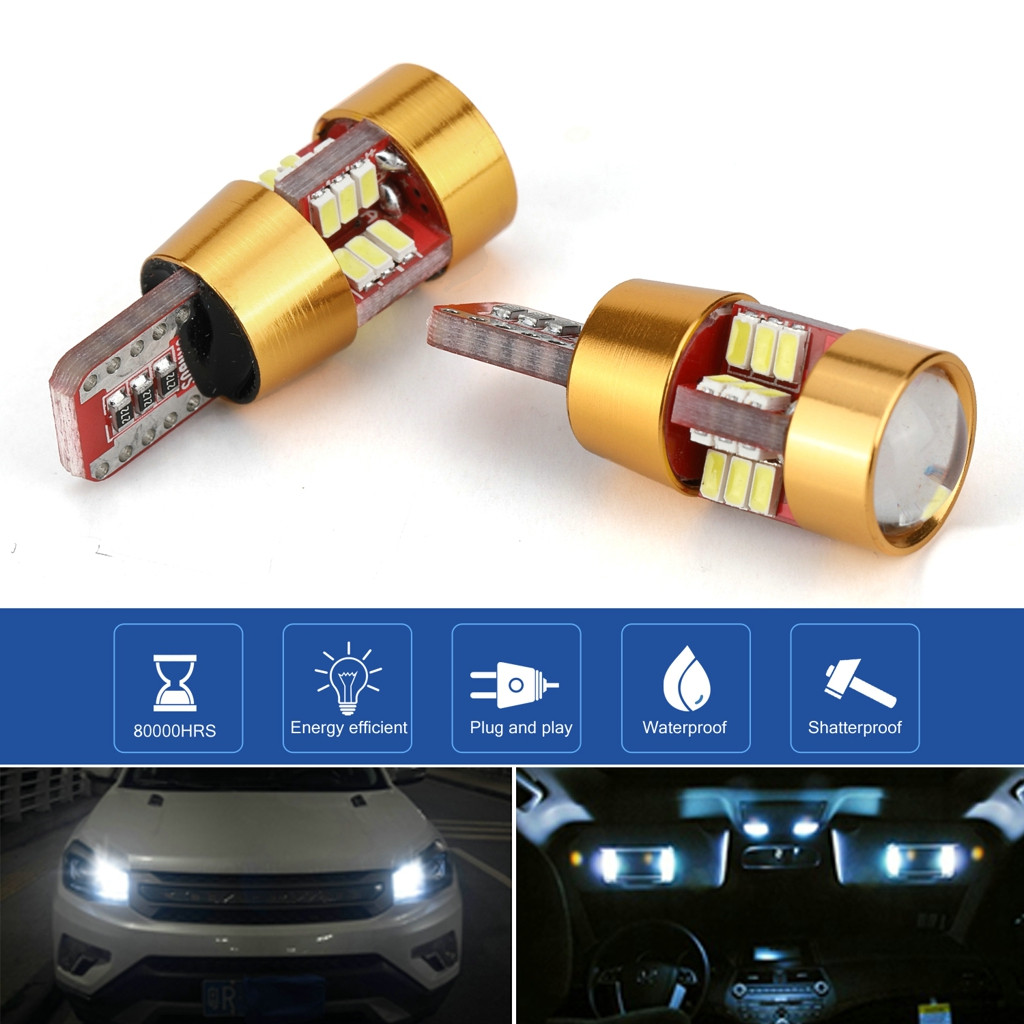 2 Pieces Car T10 Wedge 4014 27 SMD LED License Plate Map Dome Lights Gold LED Light Bulbs For Cars Width Reading Panel Lights-in Signal Lamp from Automobiles & Motorcycles
