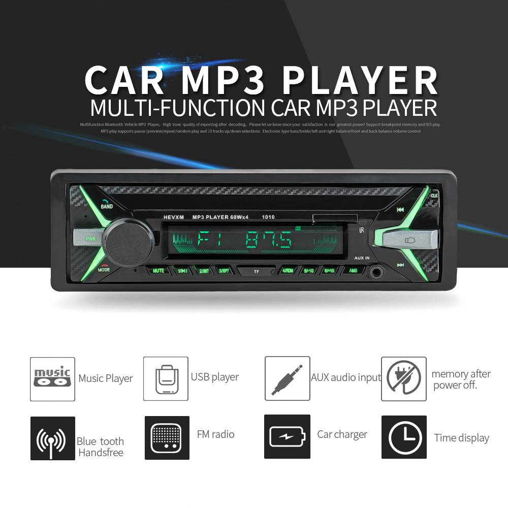 2018 New Car Radio MP3 Transmitter Music Auto Audio Stereo 1 Din Car Bluetooth Vehicle MP3 Player Receiver Device Phone Charge