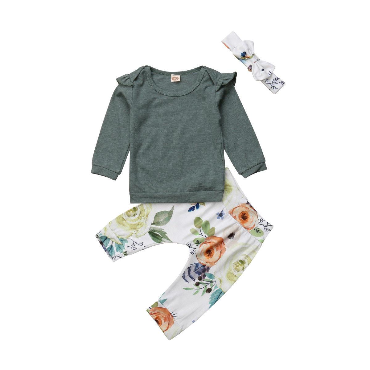 Newborn Baby Girls Flower  Long Sleeve T-Shirt Tops Leggings Outfits Set Clothes