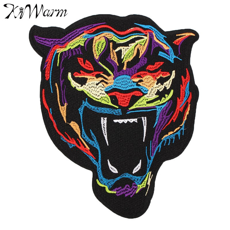 1Pcs Embroidery Rainbow Tiger Sew On Iron On Patch Badge Bag Clothes Fabric Applique For Men Women Clothing Decor DIY Material