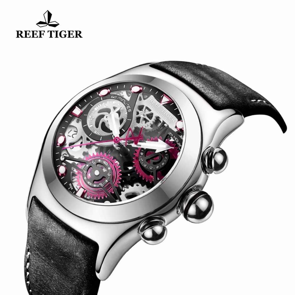 リーフ虎/rt メンズクロノグラフを見てスケルトンダイヤル日付 3 カウンター鋼腕時計 RGA792