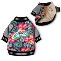 Fancy Hawaii Aloha Print Winter Dog Coat Clothes Cotton Padded Warm Pet Jacket Sweater Fashion Flower