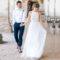 2017 Verano Caliente Estilo Largo de Gasa Blanca Del Cordón de la Playa Vestidos de Novia Sin Espalda Vestidos de Novia vestidos de noiva robe de mariage