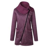 Phụ nữ Mùa Thu Mùa Đông Quần Áo Ấm Áo Khoác Lông Cừu Slant Zipper Có Cổ Coat Lady Quần Áo Nữ Khoác Tops Nữ Áo Khoác