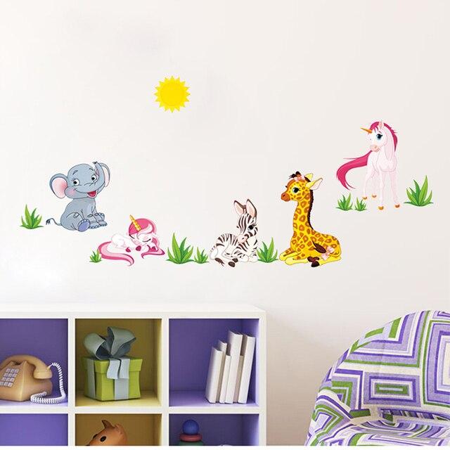 154*53 см Слон Жираф Зебра Мультфильм Стены Стикеры Для Детская Комната Животных Смешные Дети Виниловые Наклейки BM012