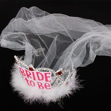 Free shipping Bride To Be Crown Tiara Lace Veil Feather Hair Hoop Girl Bachelor Night Party Before Wedding Decor Accessories